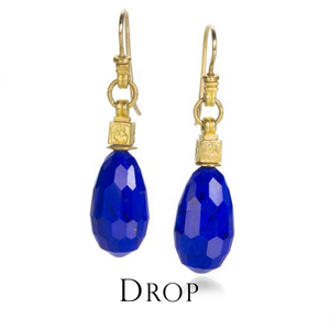 When a little dangle is in order, drop earrings are the perfect choice. Fancy, fun, and fabulous, this pair of 22k yellow gold faceted lapis drop earrings from Lilly Fitzgerald features masterful detailing and a glow only high karat gold can project.