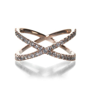 "Eva Fehren | Designer Jewelry | An 18k rose gold ""x"" ring with pave white diamonds"