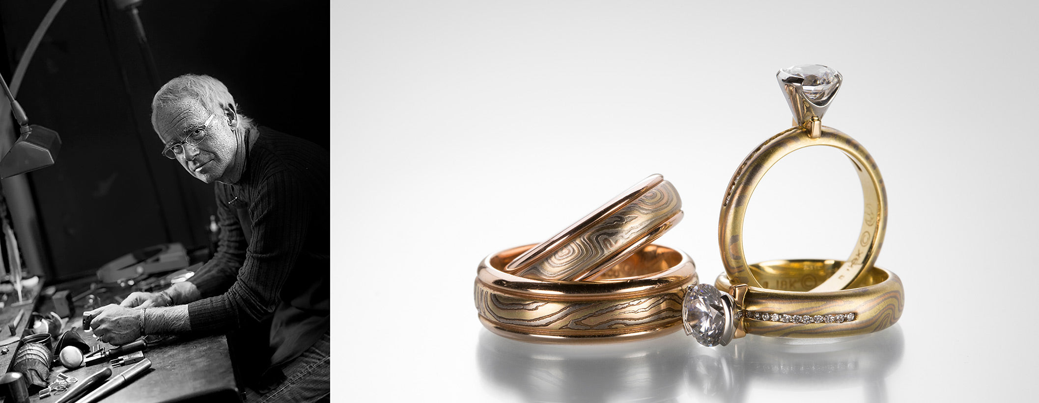 George Sawyer | Designer Jewelry | Shop George Sawyer jewelry at Quadrum, located in the Greater Boston Area, featuring a collection of women and men's mokume gane wedding bands and mokume gane engagement rings.