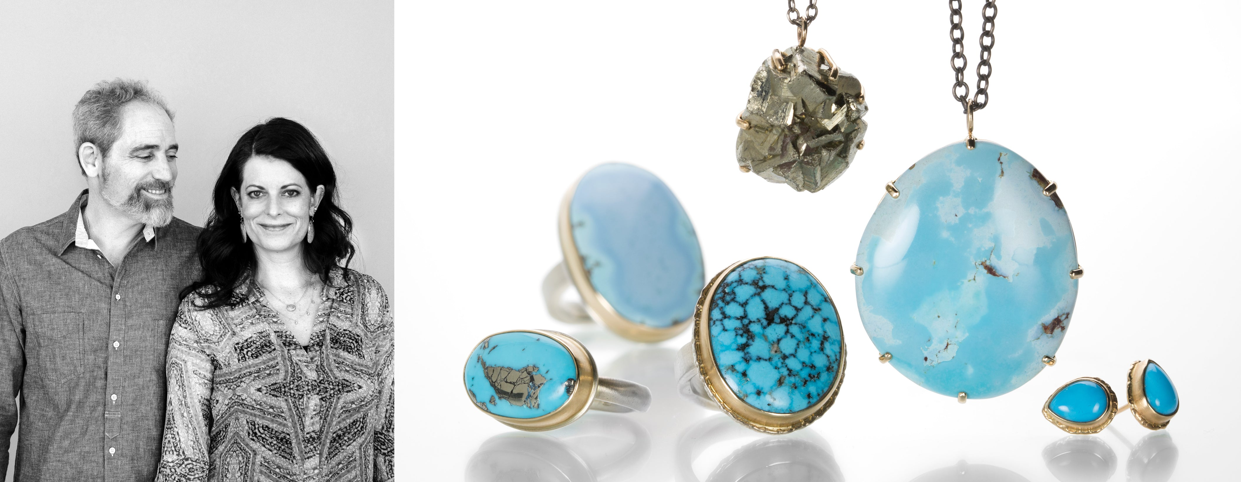 Jewelry designers Jamie Joseph and Jeremy Joseph alongside their jewelry collection featuring a pyrite necklace, a turquoise necklace, three turquoise rings and a pair of turquoise studs, all crafted in 14k yellow gold and sterling silver.