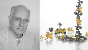 Jewelry designer John Iversen, mixed metal jewelry, oxidized sterling silver and 18k yellow gold hydrangea necklace, 18k yellow gold hydrangea earrings, oxidized sterling silver hydrangea earrings, flower jewelry, fine jewelry, designer jewelry
