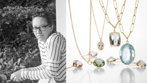 Jewelry designer Maria Beaulieu, 18k handmade chains, aquamarine pendant, morganite pendant, morganite earrings, gemstone jewelry, handmade gemstone jewelry, shop maria beaulieu online, boston jewelry store