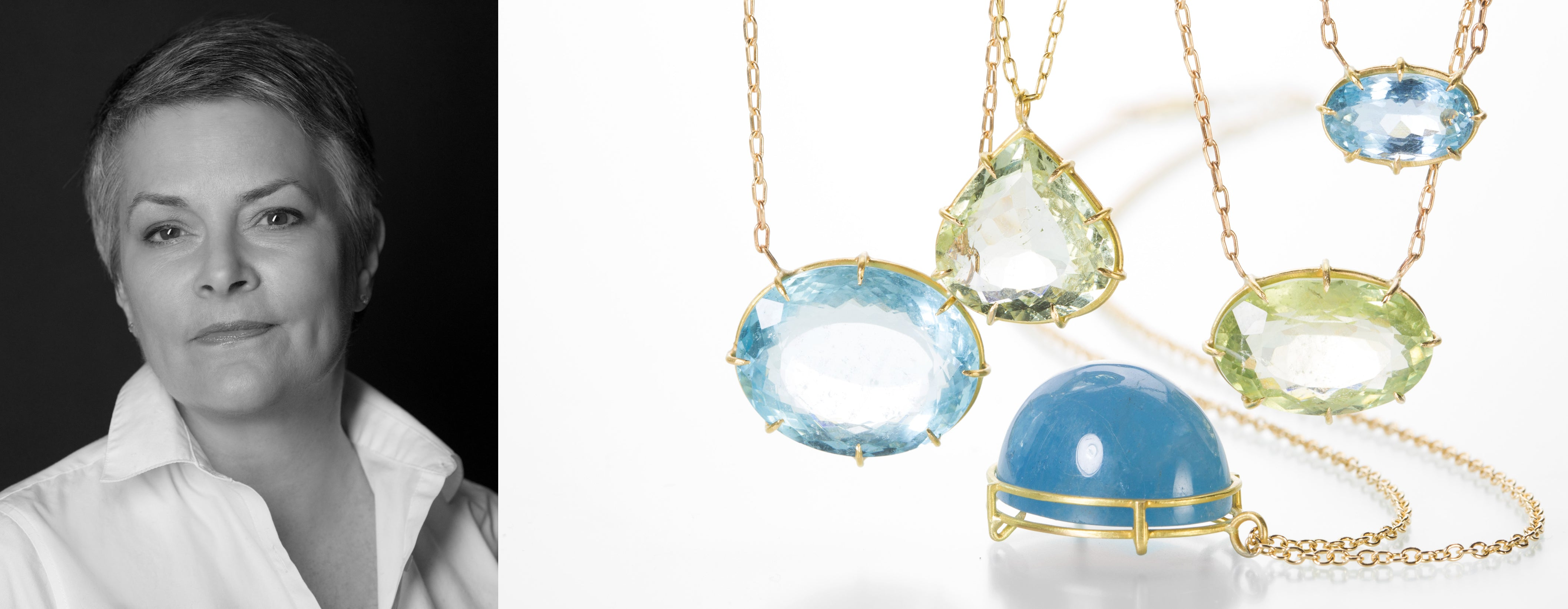 Jewelry designer and artist Rosanne Pugliese pictured alongside her fine jewelry collection featuring handmade, 18k yellow gold aquamarine necklaces and beryl pendants