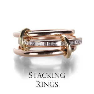 Stack up your rings for a look that's uniquely you. Match diamonds and gems, mix metals, have fun! Let Spinelli Kilcollin take the guesswork out of the stacking process and walk away in instant bling!