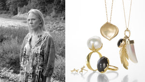 Jewelry designer and artist Annette Ferdinandsen, 14k gold, rose petal necklace, feather necklace, gray moonstone ring, pearl ring, fine jewelry, designer jewelry, nature inspired jewelry, gemstone jewelry, diamond studs, diamond earrings, 18k yellow gold