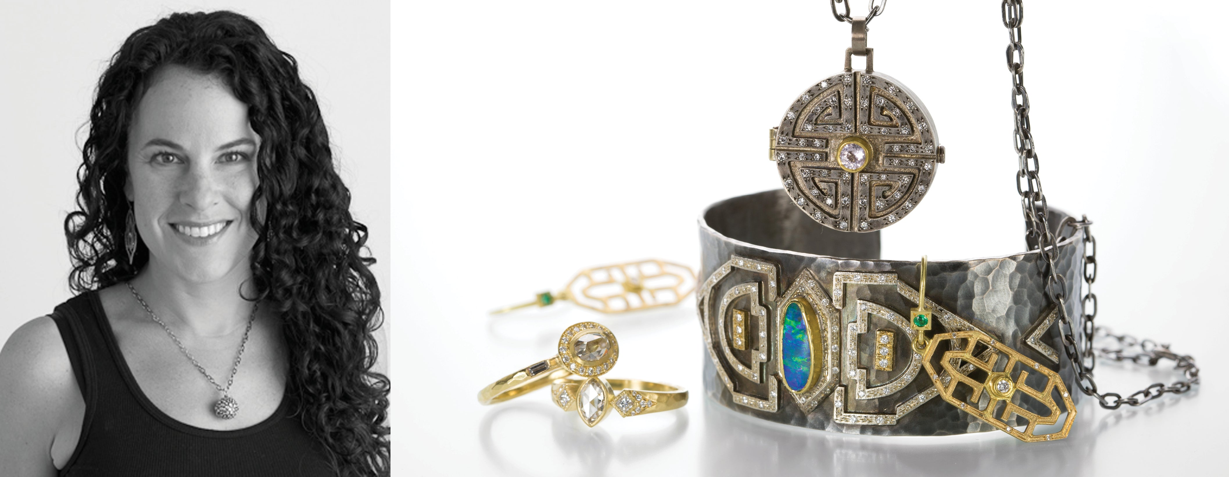 Jewelry designer Annie Fensterstock with a photo of her jewelry collection: an oxidized sterling silver cuff with opal and diamonds, an oxidized sterling silver round diamond locket, and two 18k yellow gold diamond rings