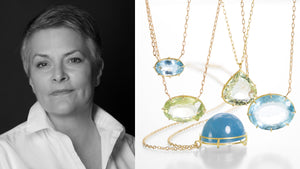 Jewelry designer Rosanne Pugliese, aquamarine necklaces, gemstone jewelry, gemstone pendants, beryl necklaces, handmade gold jewelry, 18k yellow gold, shop rosanne pugliese online, boston jewelry store