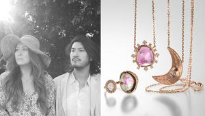 Jewelry designers Chris and Mai of Sirciam fine jewelry, 18k rose gold, 18k yellow gold, pink tourmaline and diamond necklace, moon pendant, watermelon tourmaline ring, handmade jewelry, shop sirciam online, boston jewelry store, diamond jewelry