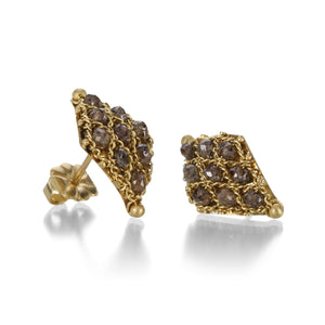 Amali Champagne Diamond Textile Stud Earrings | Quadrum Gallery