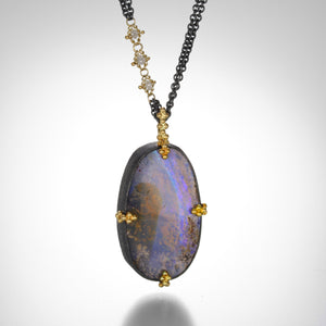 Amali Boulder Opal Pendant with Silver Diamonds | Quadrum Gallery