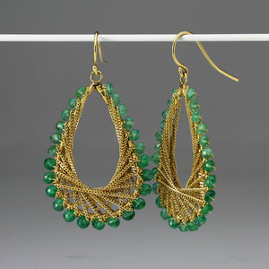 Amali Emerald Woven Teardrop Earrings | Quadrum Gallery