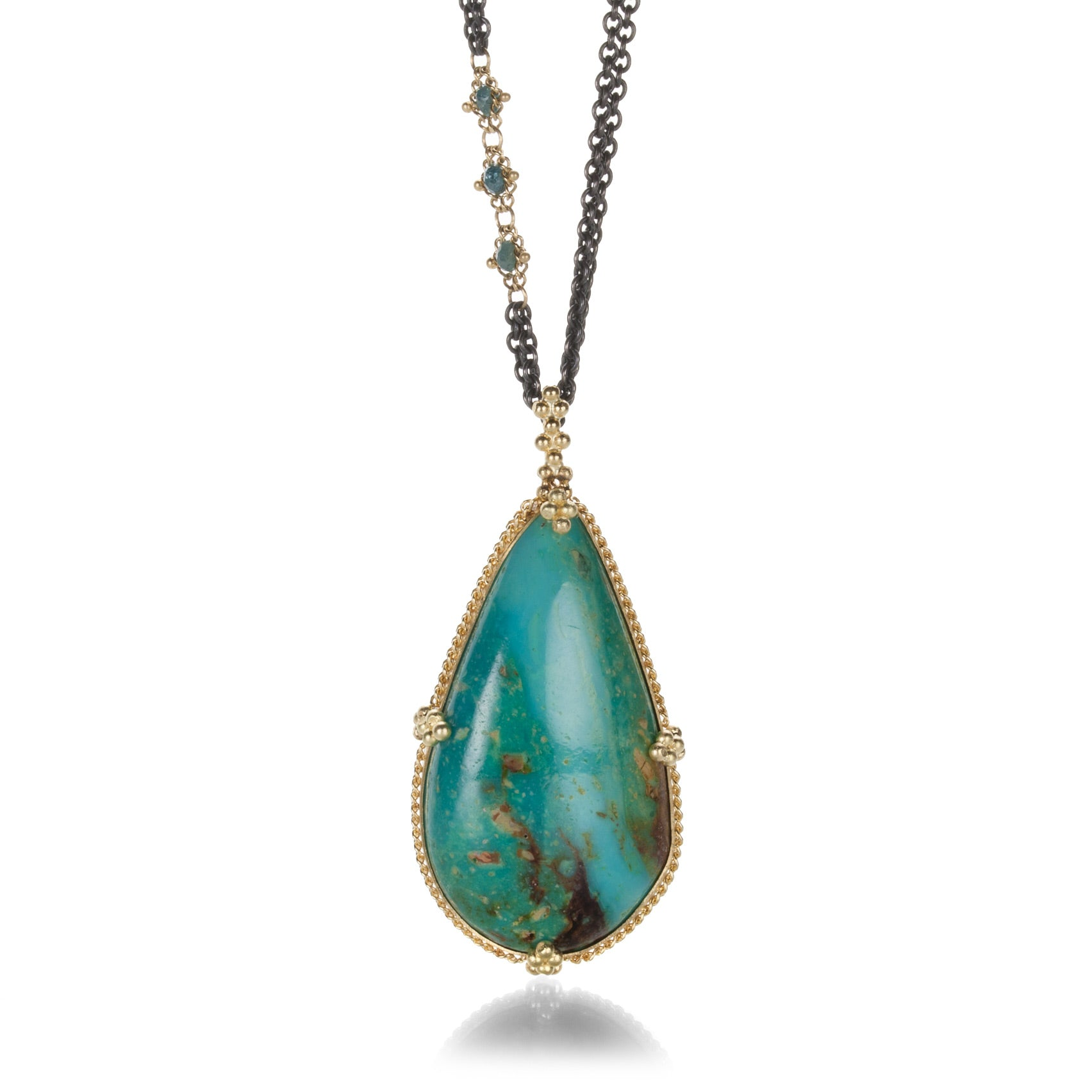 Turquoise and Blue Diamond Necklace