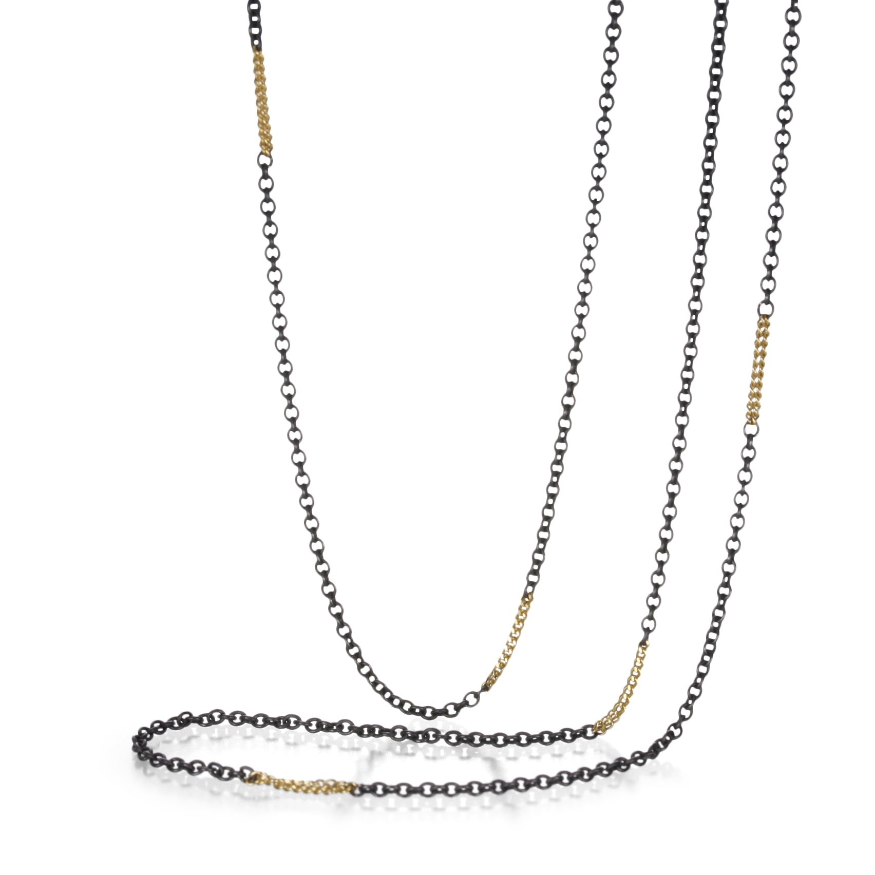 Long Mixed Metal Station Necklace