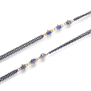 Amali Blue Sapphire Textile Station Necklace | Quadrum Gallery