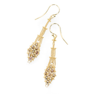 Amali Champage Diamond Textile Drop Earrings | Quadrum Gallery