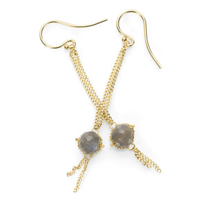 Amali Labradorite Textile Drop Earrings | Quadrum Gallery