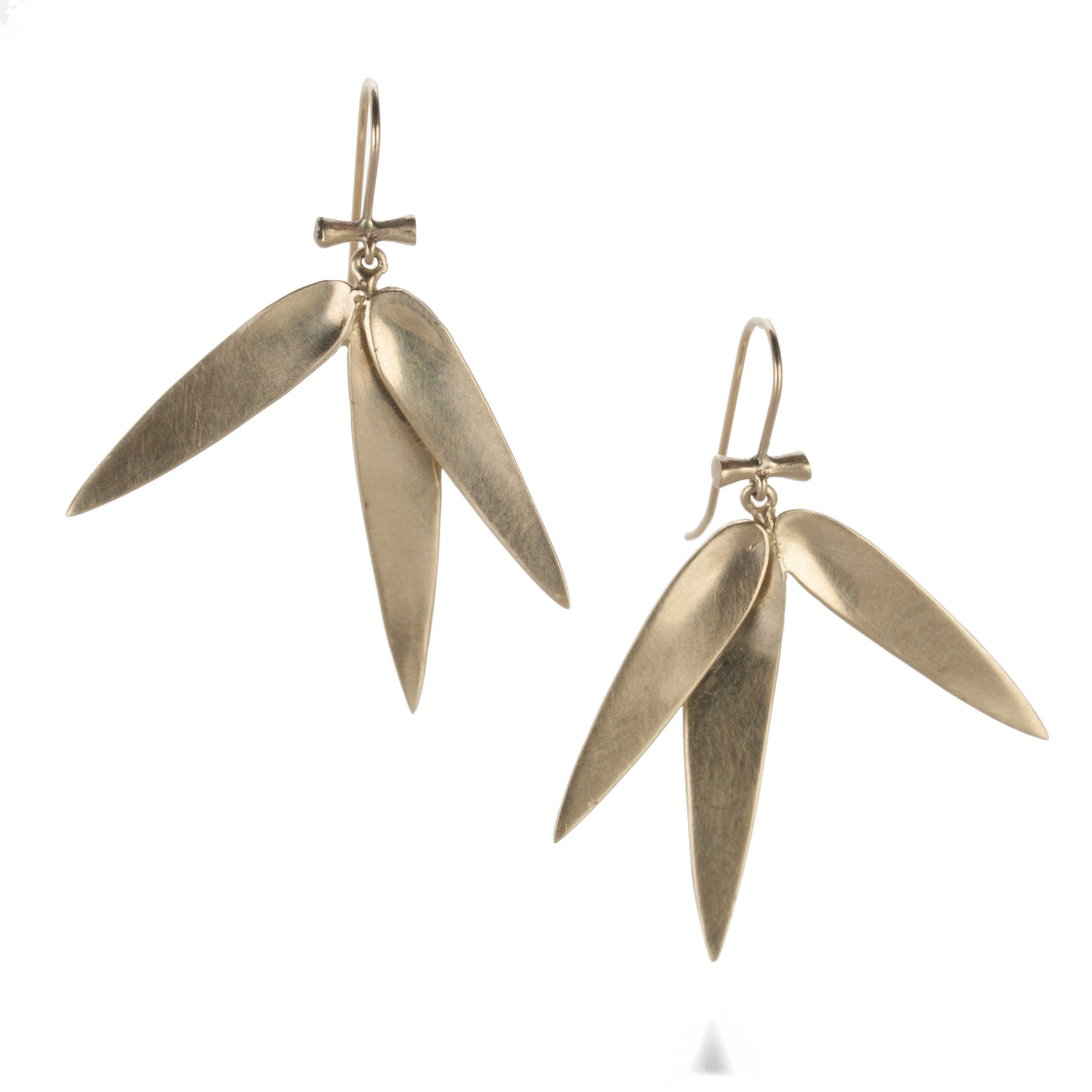 Medium Gold Bamboo Earrings