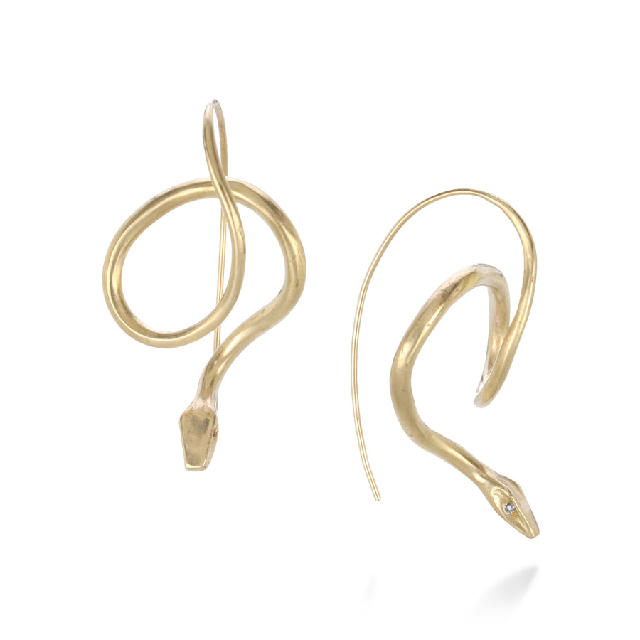 Annette Ferdinandsen Serpent Earrings with Diamond Eyes | Quadrum Gallery