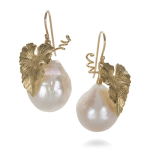 Annette Ferdinandsen White Pearl Grape Leaf Earrings | Quadrum Gallery
