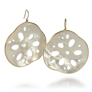 Annette Ferdinandsen Large Mother of Pearl Lotus Root Earrings | Quadrum Gallery