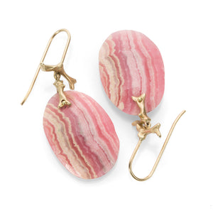 Annette Ferdinandsen Rhodochrosite Slice Branch Earrings | Quadrum Gallery