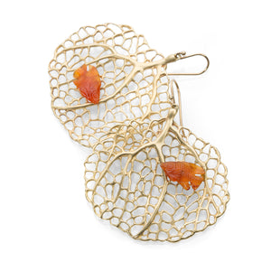 Annette Ferdinandsen Sea Fans with Carnelian Fish Earrings | Quadrum Gallery