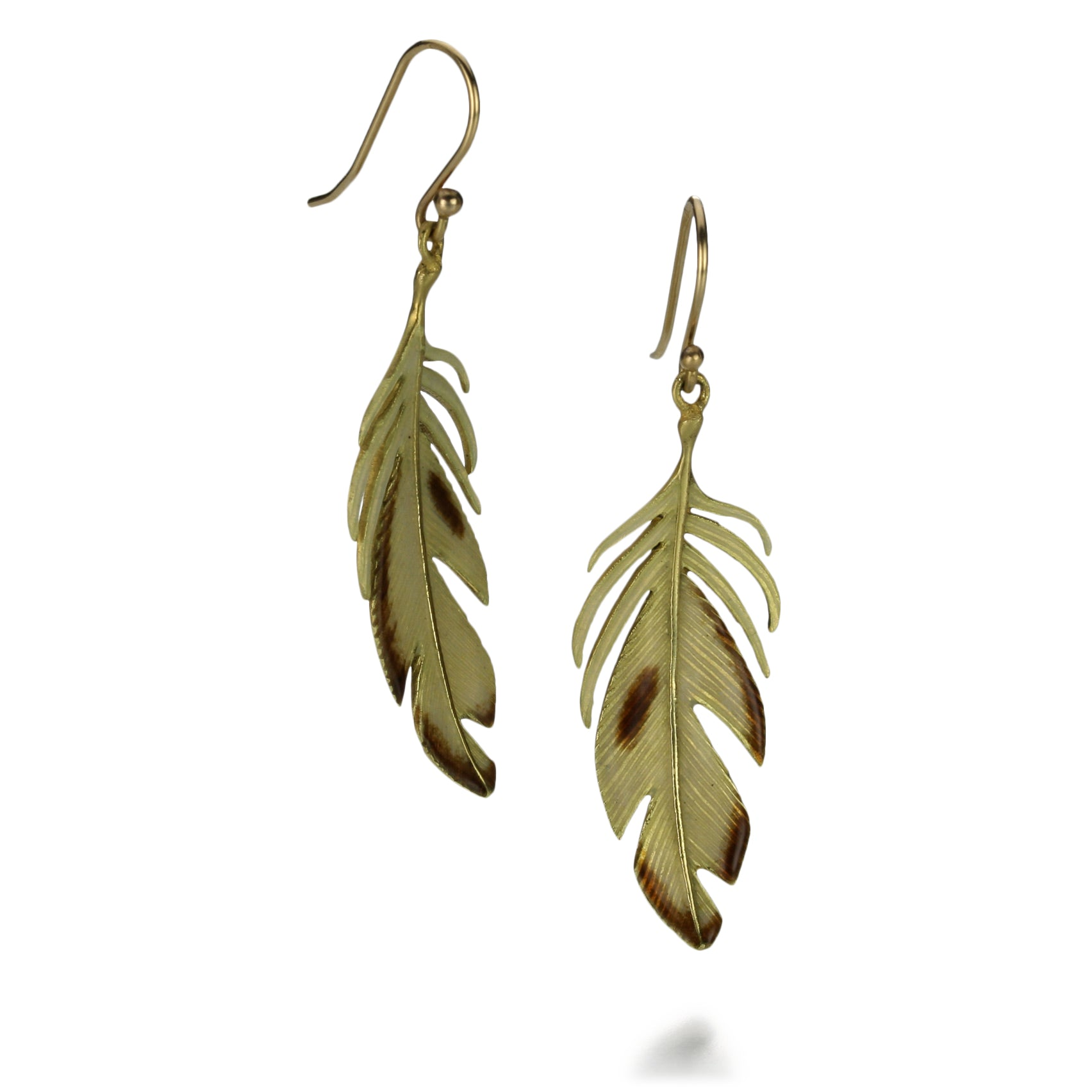 Large Enameled Feather Earring
