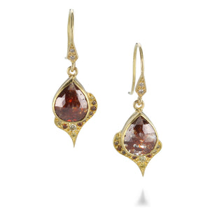 Annie Fensterstock Copper Spade Diamond Earrings | Quadrum Gallery