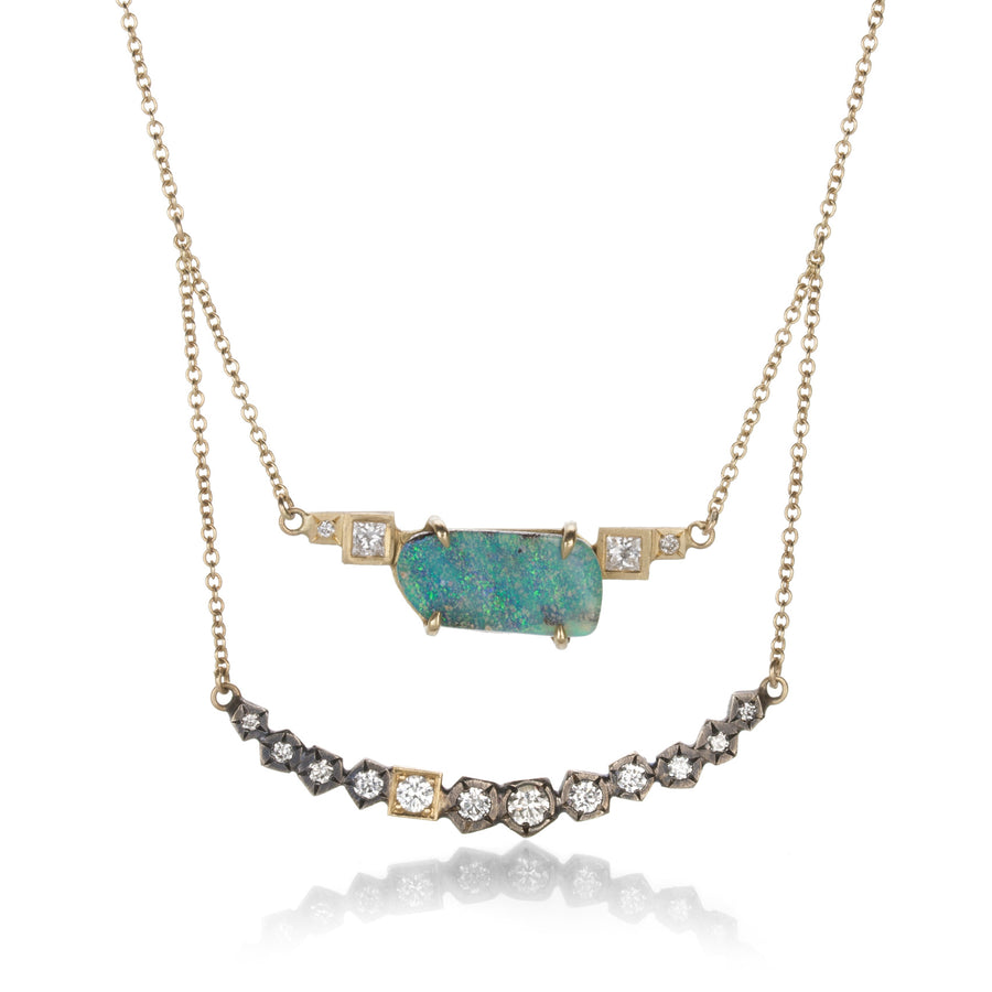 Annie Fensterstock Opal and Diamond Layered Necklace | Quadrum Gallery