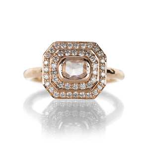 Annie Fensterstock Rose Gold Double Halo Diamond Ring | Quadrum Gallery