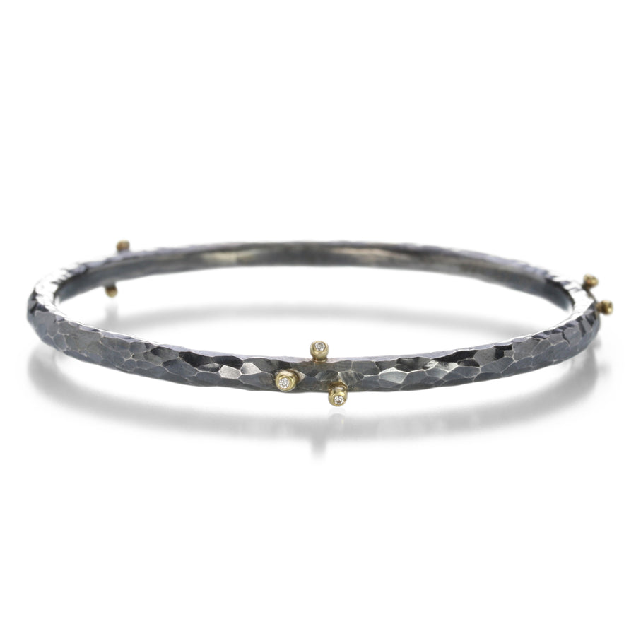 Annie Fensterstock Oxidized Silver Bangle with Diamonds | Quadrum Gallery