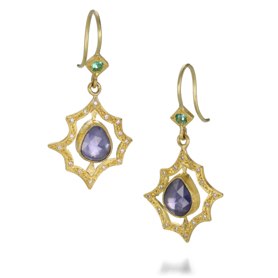 Annie Fensterstock Sapphire Scalloped Earrings | Quadrum Gallery