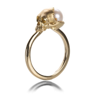 Anthony Lent Petite Open Skull Ring with South Sea Pearl | Quadrum Gallery
