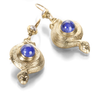 Anthony Lent Coiled Serpent Earrings with Tanzanite | Quadrum Gallery