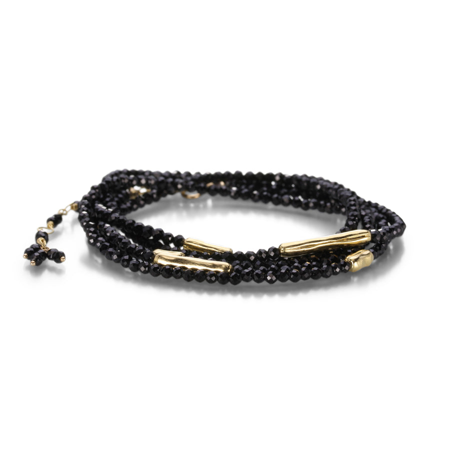 Anne Sportun Black Spinel Wrap Bracelet with Log Beads | Quadrum Gallery