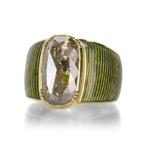 Brooke Gregson Engraved Enameled Icicle Diamond Ring | Quadrum Gallery