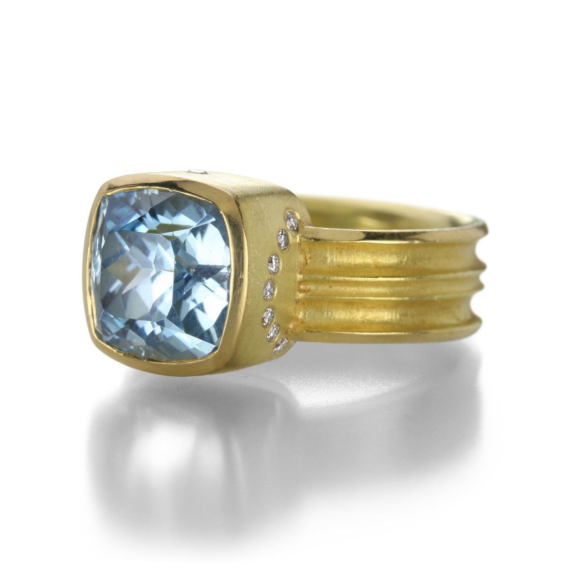 Double Curve Band Aquamarine Ring