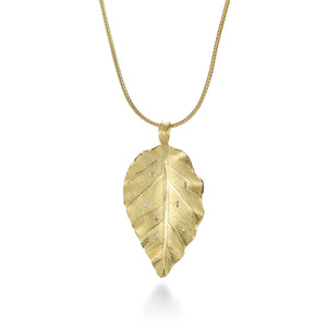 Leaf Necklace with Scattered Diamonds
