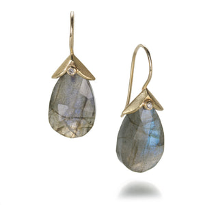 Barbara Heinrich Labradorite Earrings with Double Leaf Caps | Quadrum Gallery