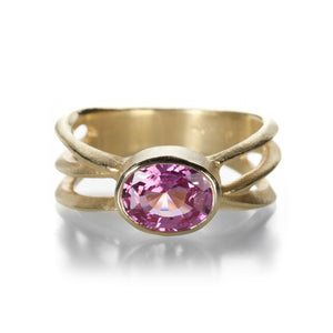 Barbara Heinrich Pink Sapphire Oval Criss Cross Ring | Quadrum Gallery
