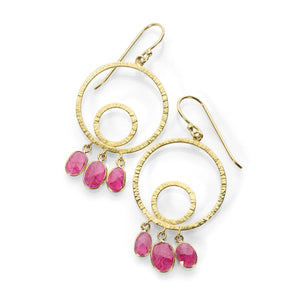 Barbara Heinrich Hammered Circle Earrings with Ruby Drops | Quadrum Gallery
