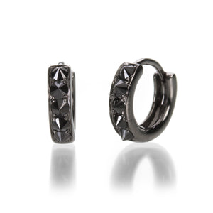 Eva Fehren 2mm Huggies with Black Diamonds | Quadrum Gallery