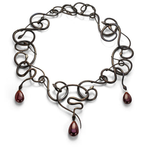 Gabriella Kiss Snake Necklace with Garnet Drops | Quadrum Gallery