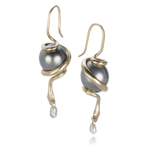 Gabriella Kiss Snake Earrings with Tahitian Pearl and Diamond | Quadrum Gallery