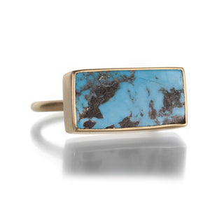 Gabriella Kiss Rectangular Persian Turquoise Ring | Quadrum Gallery