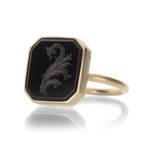 Gabriella Kiss Black Jade Leaf Intaglio Ring | Quadrum Gallery
