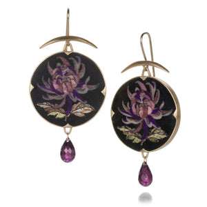 Gabriella Kiss Round Purple Flower Mosaic Earrings | Quadrum Gallery