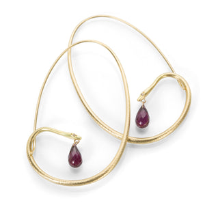 Gabriella Kiss Large Snake Hoops with Rhodolite Garnet Drops | Quadrum Gallery