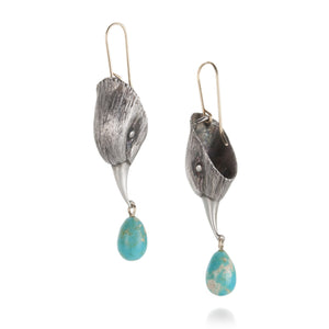 Gabriella Kiss Bird Head Earrings with Turquoise Drops | Quadrum Gallery