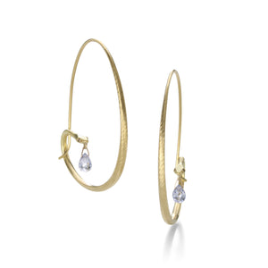 Gabriella Kiss Small Snake Hoops with Blue Sapphire Drops | Quadrum Gallery